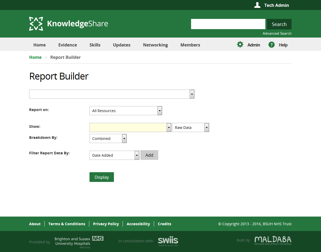 Knowledge Share Existing Report Builder